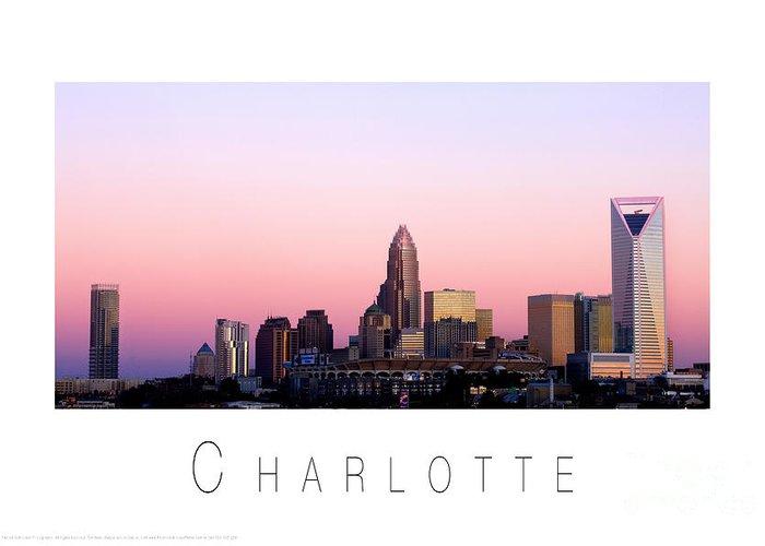 Charlotte Nc Photography Greeting Card featuring the photograph Charlotte Nc Skyline Pink Sky by Patrick Schneider