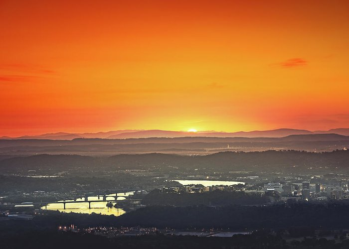 Sunrise Greeting Card featuring the photograph Chattanooga Sunrise by Steven Llorca