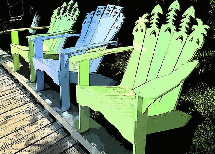Chairs Greeting Card featuring the photograph Cheerful Adirondacks by Michelle Wiarda