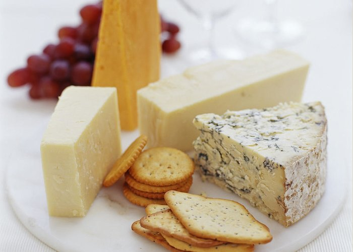 Red Leicester Greeting Card featuring the photograph Cheese Selection by David Munns