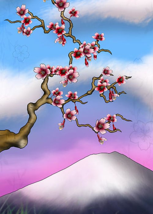 Cherry Blossoms Greeting Card featuring the digital art Cherry Blossoms by Anthony Citro