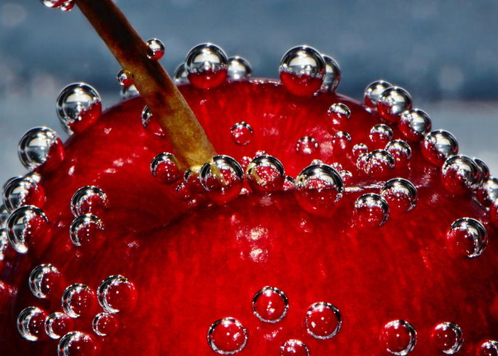 Cherry Cherries Greeting Card featuring the photograph Cherry Bubbles Under Water by Tracie Kaska