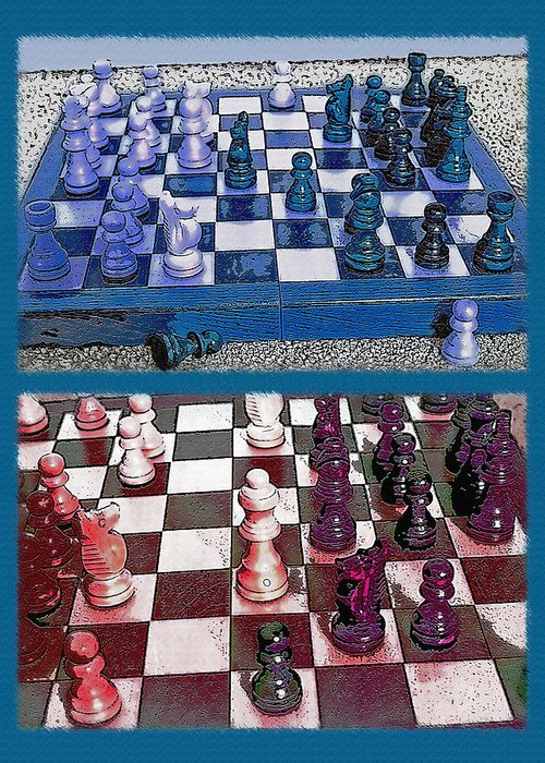 Chess Greeting Card featuring the photograph Chess Board - Game In Progress Diptych by Steve Ohlsen