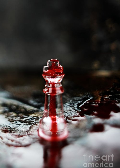 Chess Greeting Card featuring the photograph Chess Piece In Blood by Stephanie Frey
