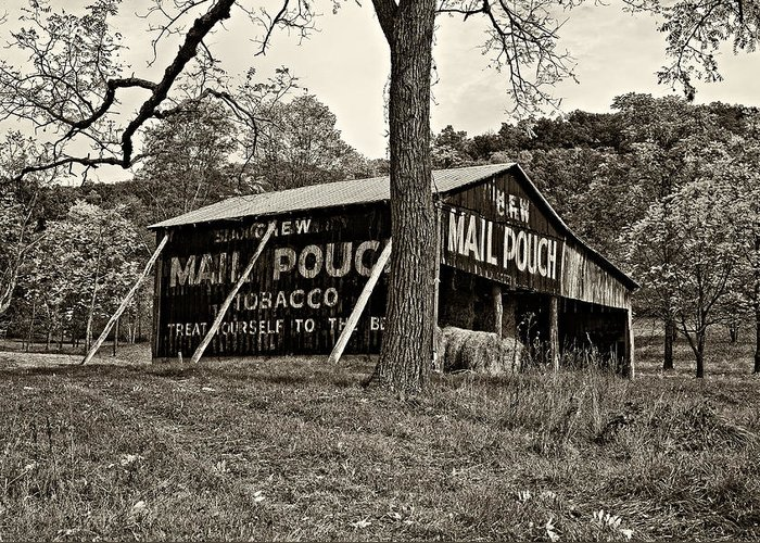 West Virginia Greeting Card featuring the photograph Chew Mail Pouch Sepia by Steve Harrington