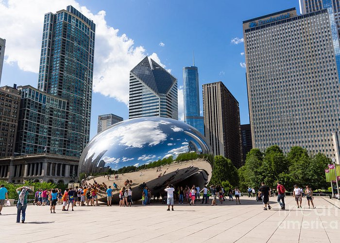 America Greeting Card featuring the photograph Chicago Bean Cloud Gate With People by Paul Velgos