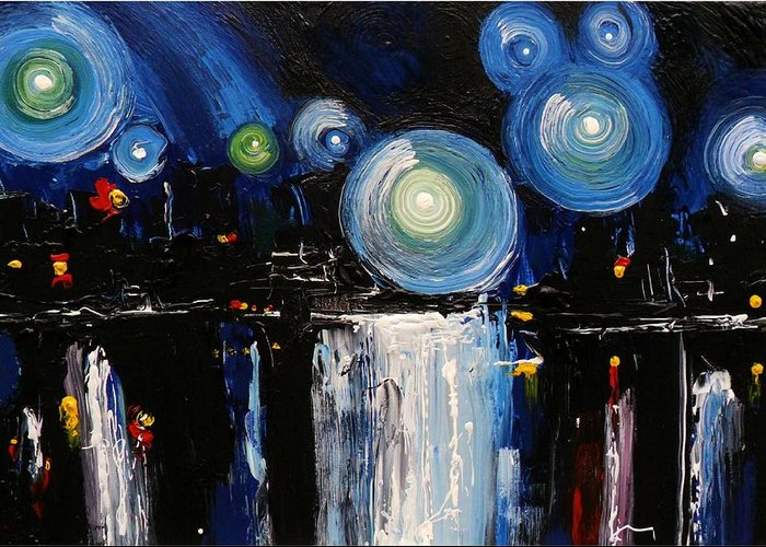 Chicago Greeting Card featuring the painting Chicago City Lights by Skye Taylor