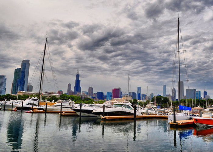 Chicago Greeting Card featuring the photograph Chicago N Sails by Emily Stauring