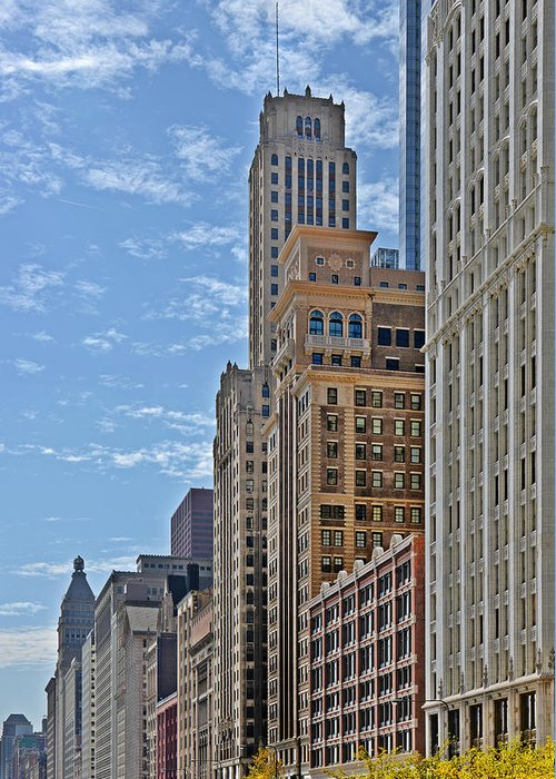 Historic Greeting Card featuring the photograph Chicago Willoughby Tower And 6 N Michigan Avenue by Christine Till
