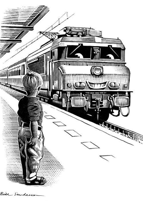 Human Greeting Card featuring the photograph Child Train Safety, Artwork by Bill Sanderson