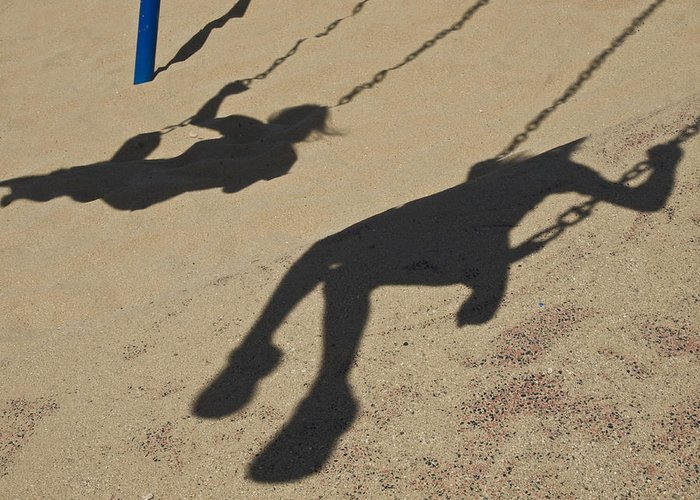 Ventura Greeting Card featuring the photograph Children Cast Body Shadows In The Sand by Stacy Gold