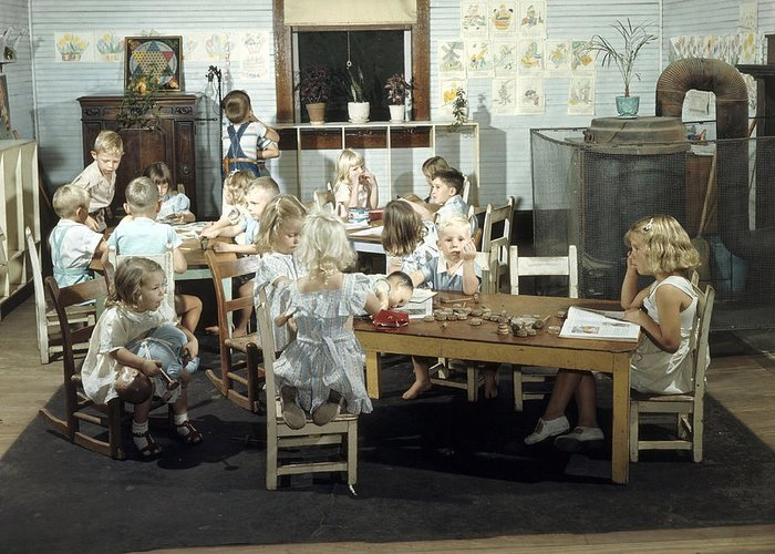 Indoors Greeting Card featuring the photograph Children Play In A Day Nursery by J. Baylor Roberts