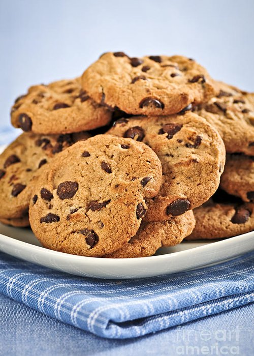 Cookies Greeting Card featuring the photograph Chocolate Chip Cookies by Elena Elisseeva