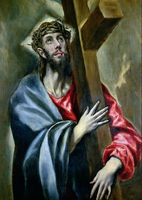 Jesus Greeting Card featuring the painting Christ Clasping The Cross by El Greco