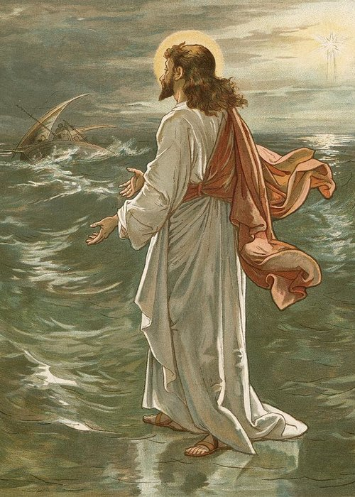Bible; Jesus Christ; Walking On The Waters; Water; Sea Of Galilee; Storm; Waves Greeting Card featuring the painting Christ Walking On The Waters by John Lawson