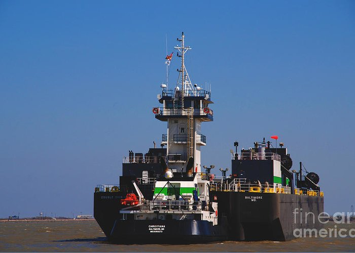 Oil Tanker Greeting Card featuring the photograph Christiana Oil Tanker Sitting In Galveston Tx by Susanne Van Hulst