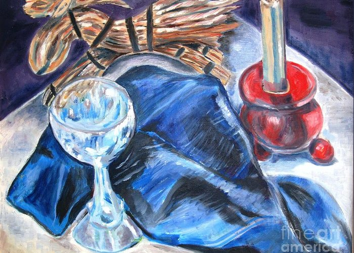 Smorgasbord Table Greeting Card featuring the painting Christmas Eve by Laurel Anderson-McCallum