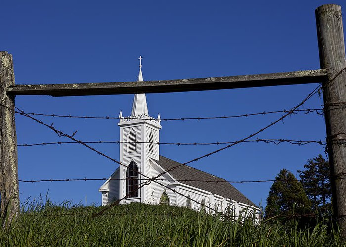 Church St. Teresa's Of Avila Greeting Card featuring the photograph Church And Barbed Wire by Garry Gay
