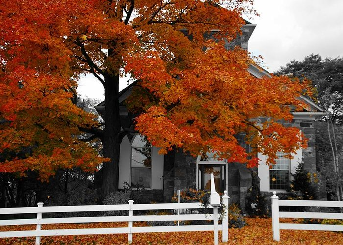 Fall Greeting Card featuring the photograph Church In Autumn by Andrea Kollo