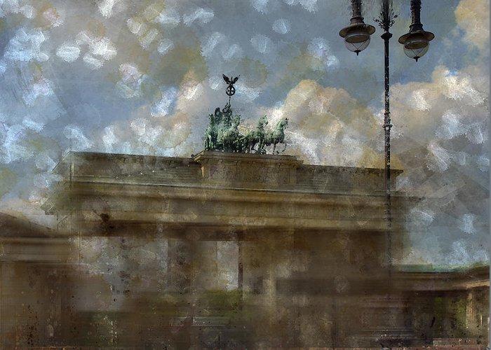 White Greeting Card featuring the photograph City-art Berlin Brandenburger Tor II by Melanie Viola