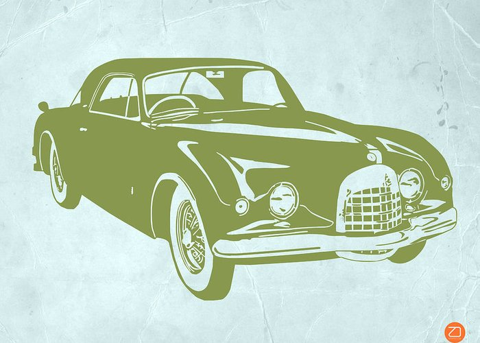 Greeting Card featuring the drawing Classic Car by Naxart Studio