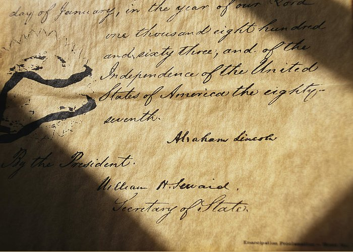 Legislation Greeting Card featuring the photograph Close-up Of Emancipation Proclamation by Todd Gipstein