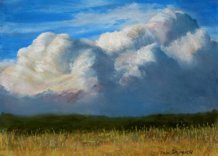 Clouds Greeting Card featuring the painting Clouds Over The Meadow by Jack Skinner