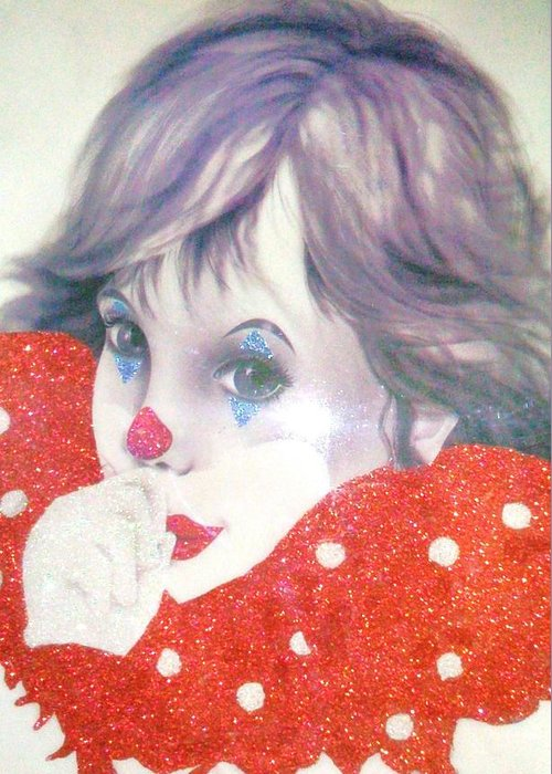 White Greeting Card featuring the painting Clown Baby by Unique Consignment