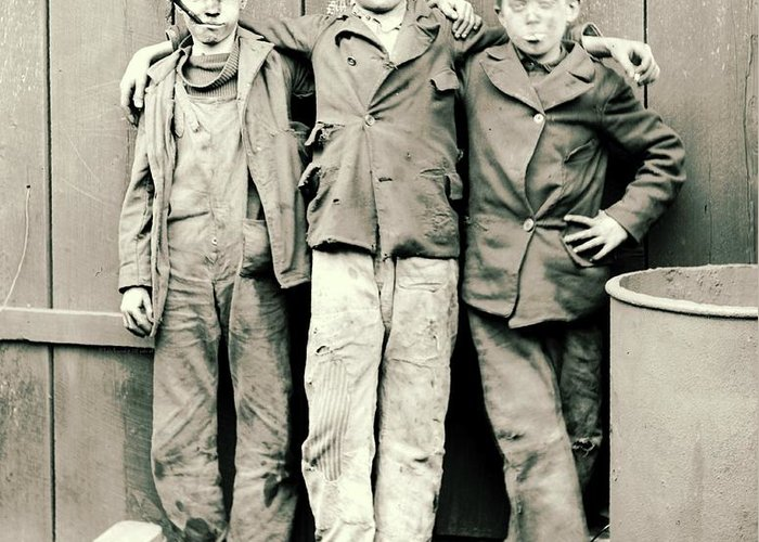 Coal Breaker Boys 1900 Greeting Card featuring the photograph Coal Breaker Boys 1900 by Padre Art