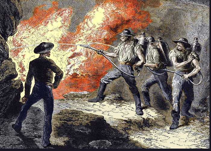 Fire Extinguisher Greeting Card featuring the photograph Coal Mine Fire, 19th Century by Sheila Terry