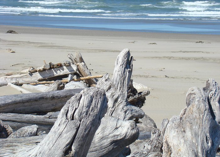 Driftwood Greeting Card featuring the photograph Coastal Driftwood Art Prints Blue Waves Ocean by Baslee Troutman