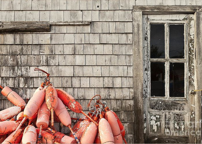 Maine Greeting Card featuring the photograph Coastal Shanty And Buoys. by John Greim