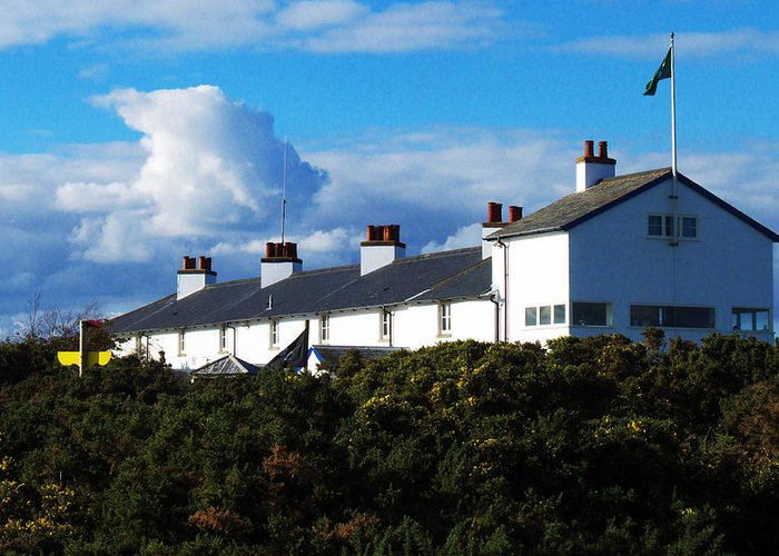 Coastguard Cottages Greeting Card featuring the photograph Coastguard Cottages Dunwich Heath Suffolk by Darren Burroughs