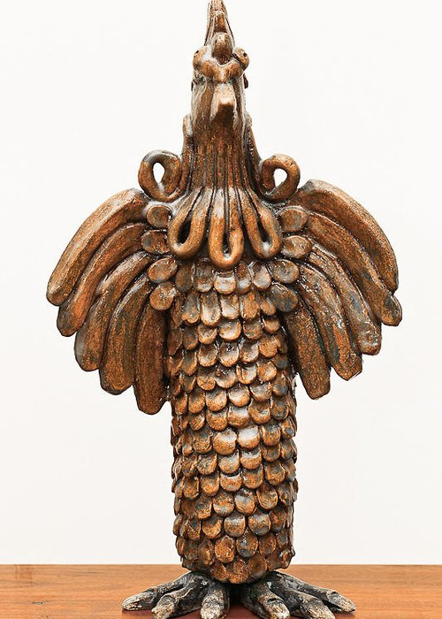 Cock Greeting Card featuring the sculpture Cock Totem Bronze Gold Color Wings Beak Hair Eyes Scales Feathers by Rachel Hershkovitz