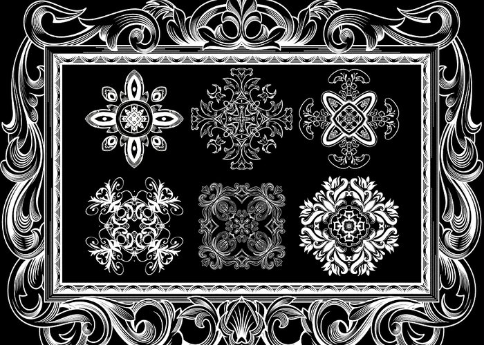 Intricate Greeting Card featuring the digital art Coffee Flowers Ornate Medallions Bw 6 Piece Collage Framed by Angelina Vick