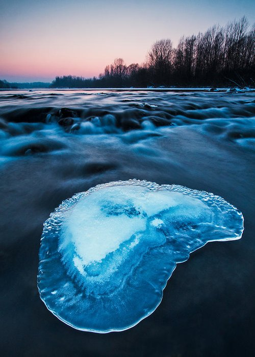 Landscape Greeting Card featuring the photograph Cold Blue by Davorin Mance