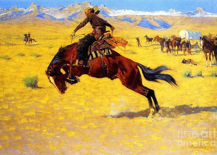 Western Greeting Card featuring the painting Cold Morning On The Range by Pg Reproductions