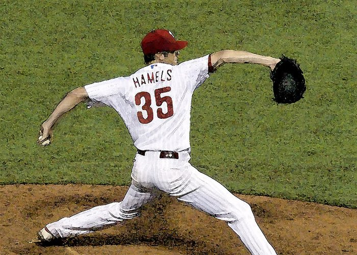Cole Hamels Greeting Card featuring the photograph Cole Hamels by Gerry Mann