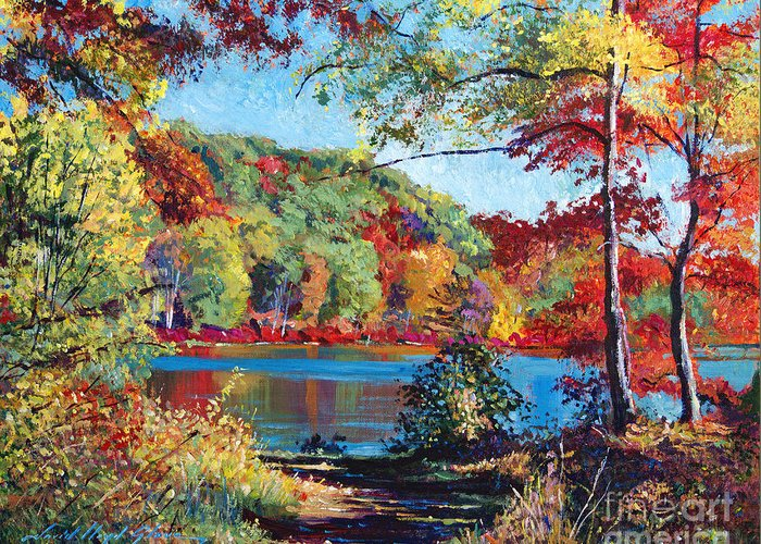 Landscape Greeting Card featuring the painting Color Rich Harriman Park by David Lloyd Glover