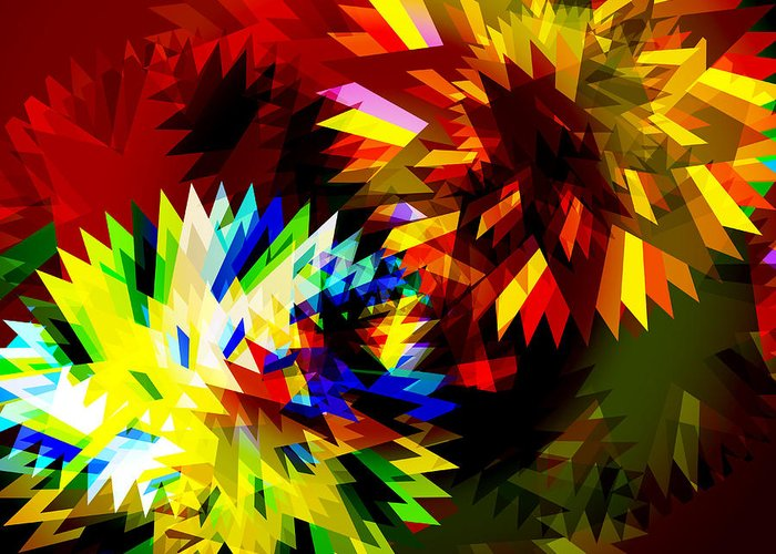 Art Greeting Card featuring the digital art Colorful Blade by Atiketta Sangasaeng