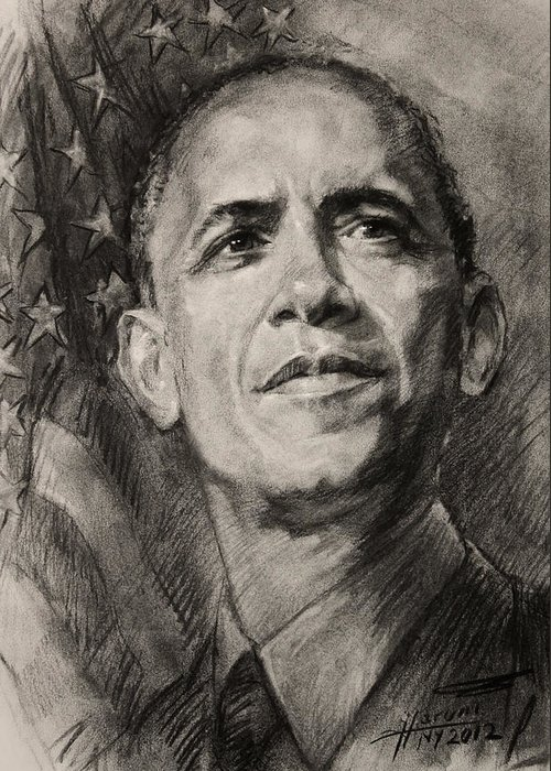 Barack Obama Greeting Card featuring the drawing Commander-in-chief by Ylli Haruni