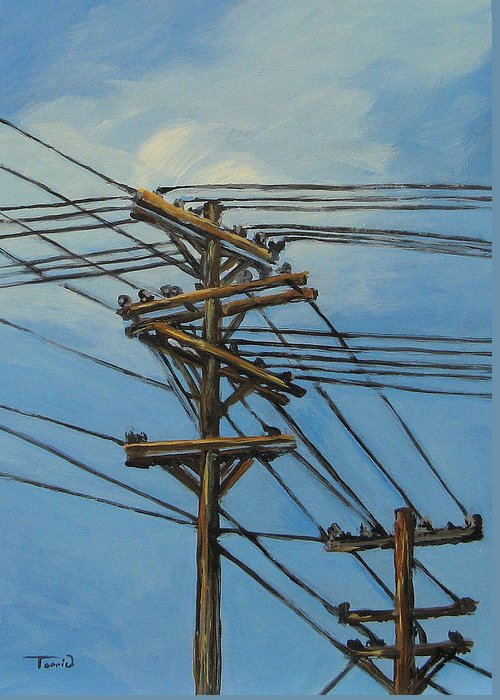 Power Lines Greeting Card featuring the painting Communication by Torrie Smiley