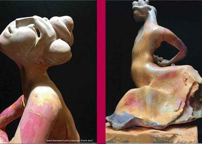 Figurative Greeting Card featuring the sculpture Compensation-pink- Dusty Orange-purple by Duane Paul
