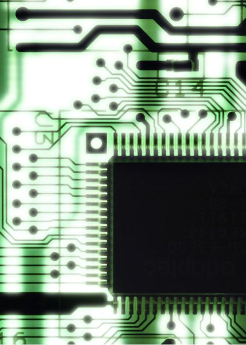Component Greeting Card featuring the photograph Computer Circuit Board by Tim Vernonlth Nhs Trust