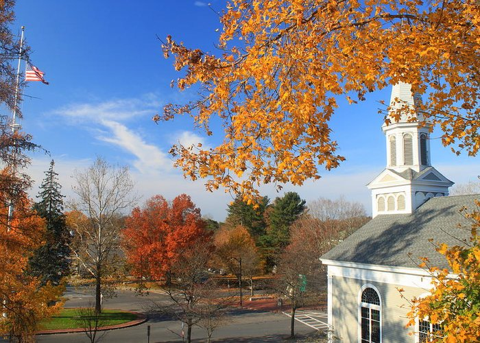 Town Common Greeting Card featuring the photograph Concord Massachusetts In Autumn by John Burk