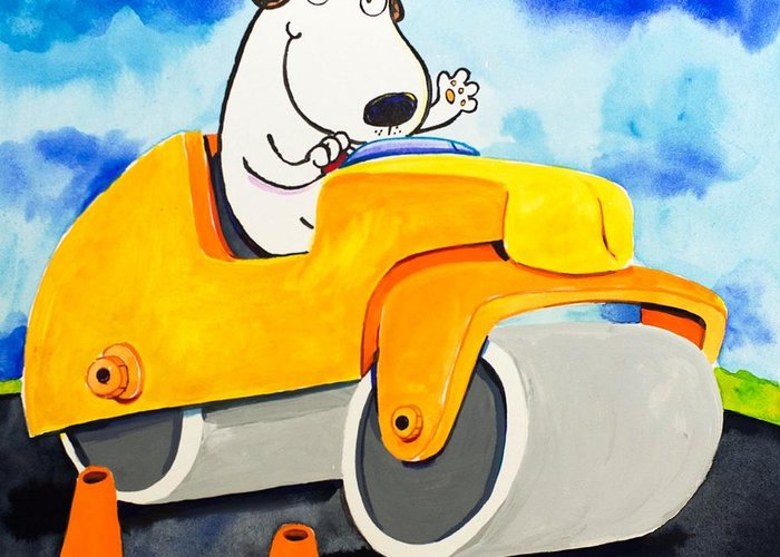 Dog Greeting Card featuring the painting Construction Dogs 3 by Scott Nelson