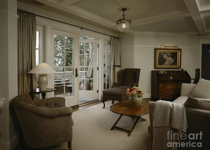 Apartment Greeting Card featuring the photograph Contemporary Sitting Room by Robert Pisano