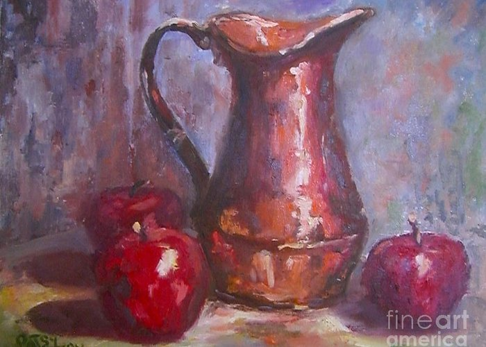 Copper Pitcher Greeting Card featuring the painting Copper Study by Patsy Walton