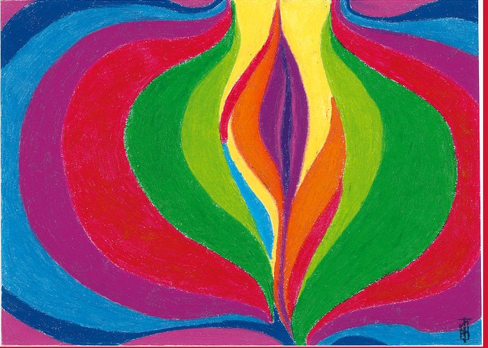 Abstract Greeting Card featuring the pastel Core by Helen Savin Thornhill