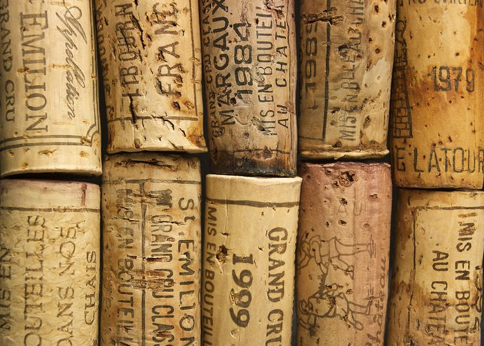 Bouchons Greeting Card featuring the photograph Corks Of Fench Vine Of Bordeaux by Bernard Jaubert